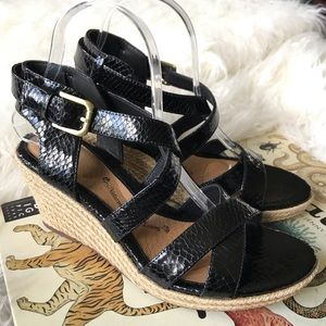 Sofft Black leather espadrille sandals
